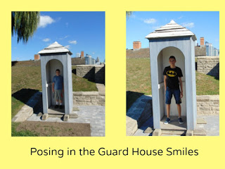 Posing in guard houses at Fort York