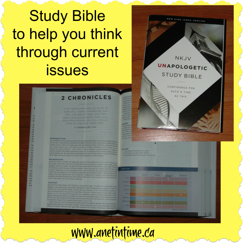 The NKJV  Unapologetic Study Bible, a great resource to help you think through current issues in the church.