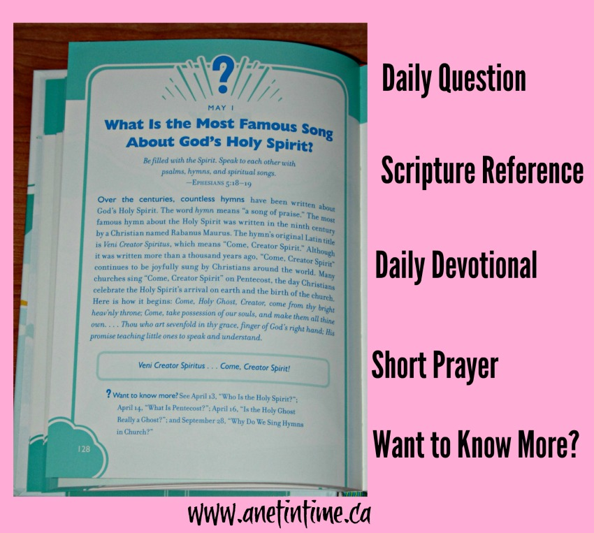 page layout for devotional from 365 bible answers for curious children