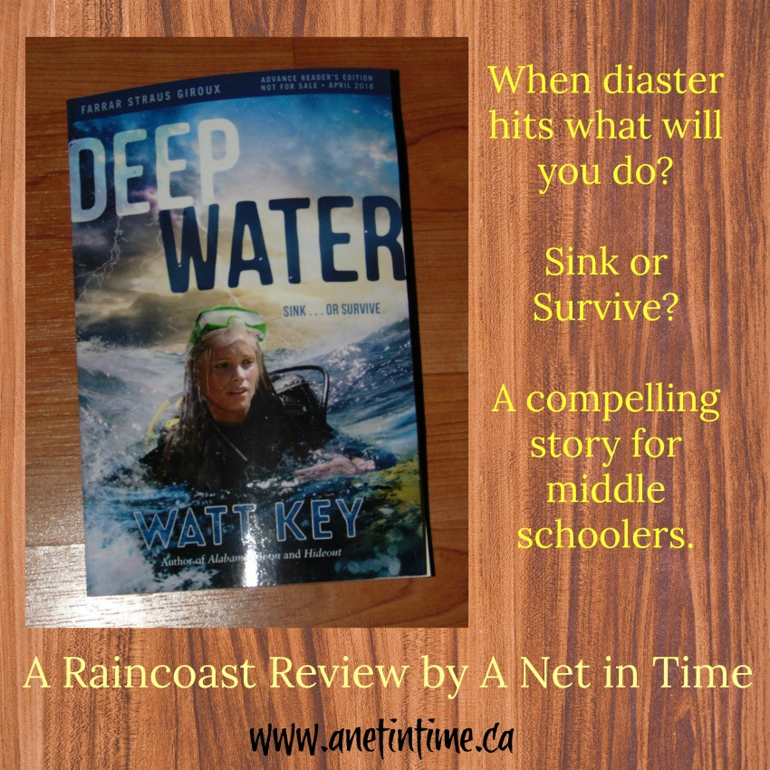 Cover for review Deep Water. good middle school adventure read.