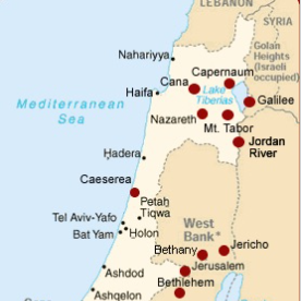 map Cana to Capernaum