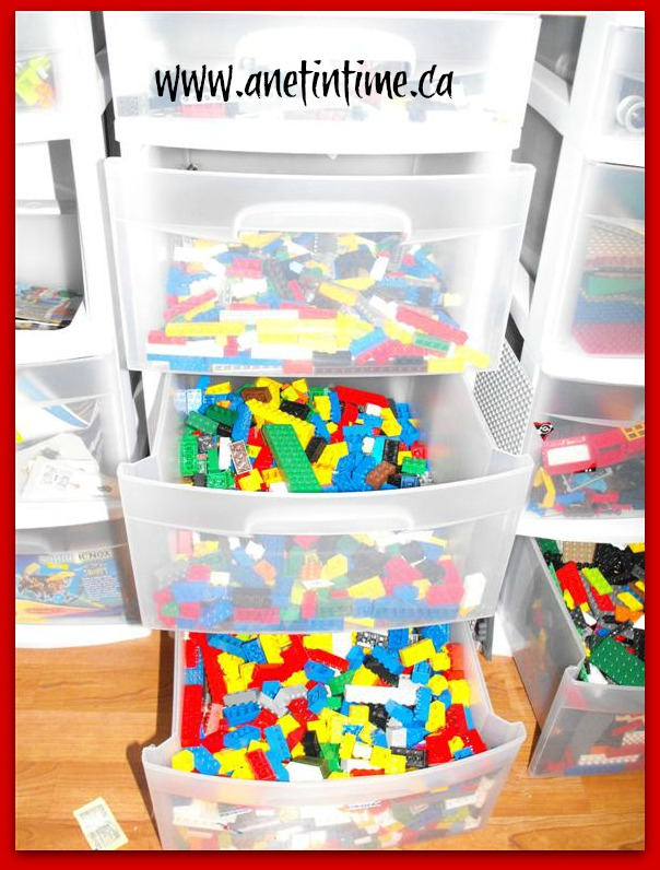organizing lego with display shelf