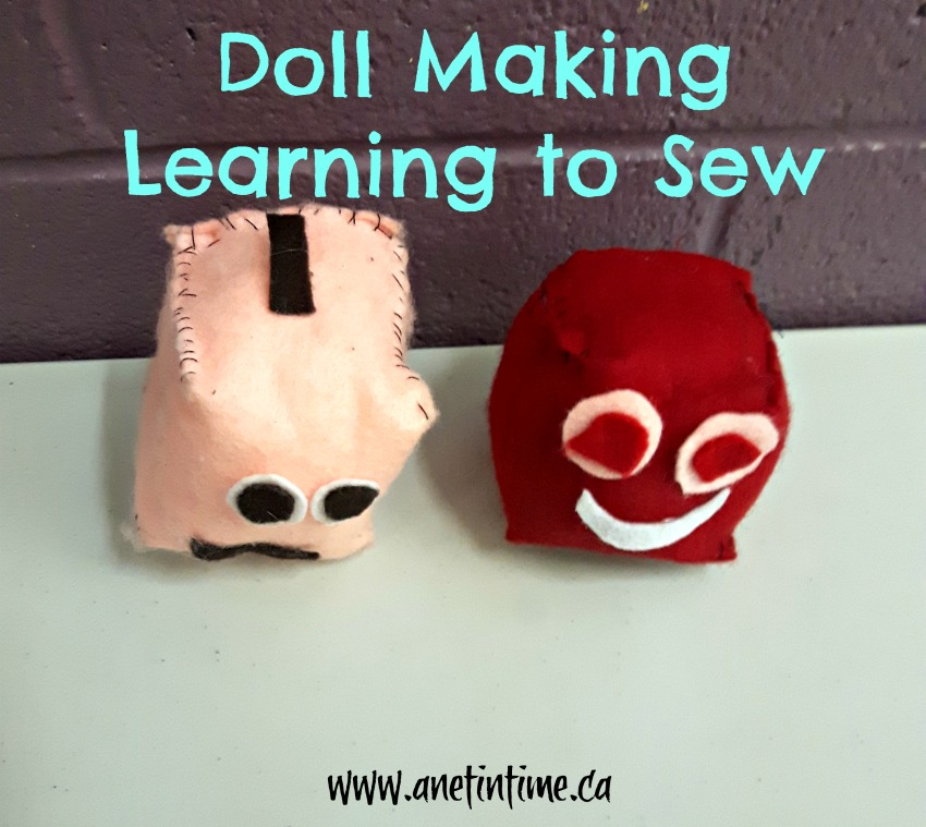 making stuffies as we learn to sew in Doll Making Class