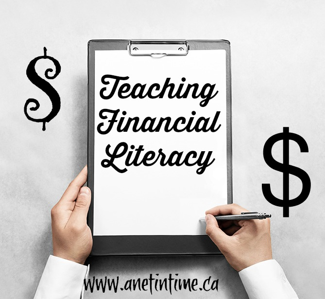 Teaching Financial Literacy, clipboard with words on it.