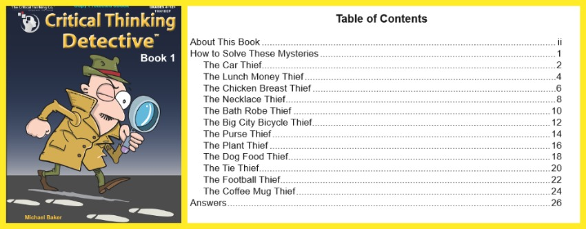critical thinking detective book one, table of contents