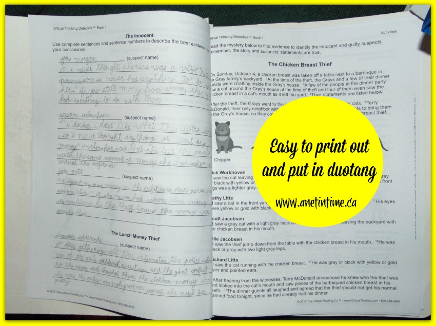 critical thinking detective book completed lesson