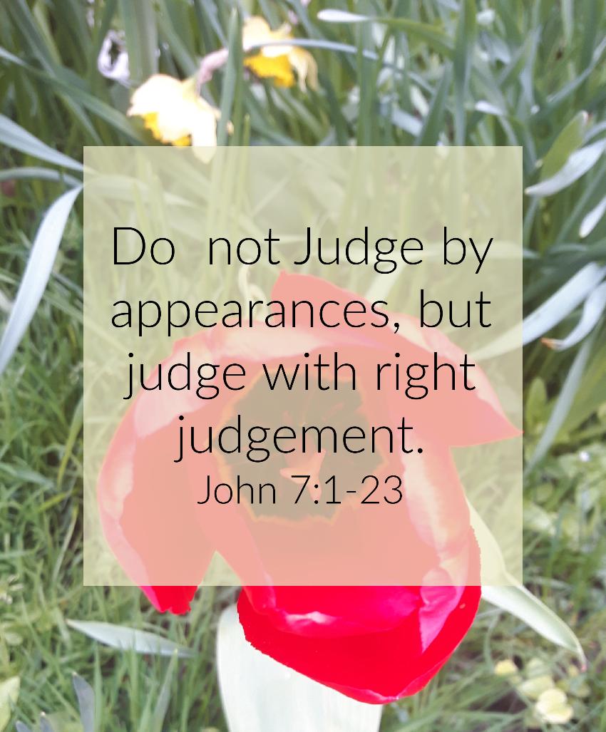 do not make snap judgements.  Devotional John 7:1-23