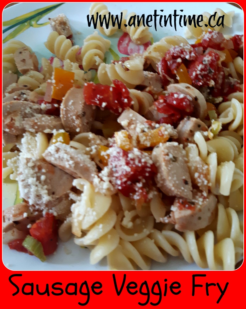 picture of sausage vegetable fry with pasta