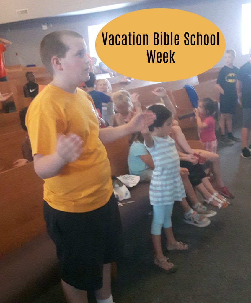 Vacation Bible school, children singing