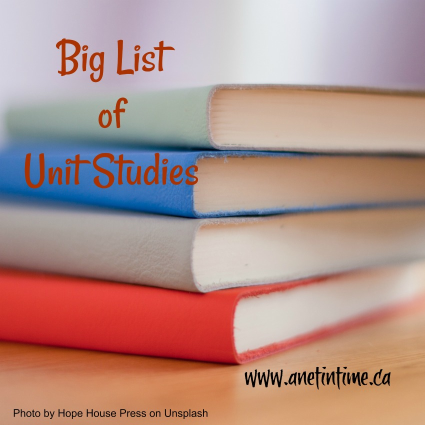 picture of four books, words big list of unit studies