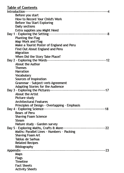 table of contents for paddington bear unit study from branch out world