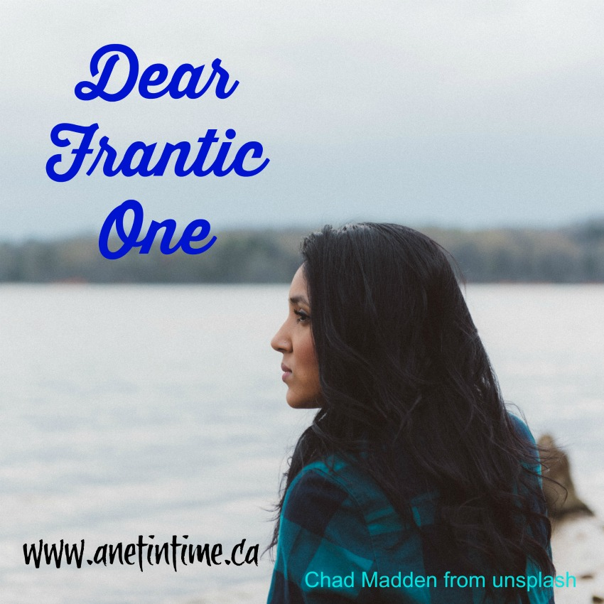 woman looking over lake, text dear frantic one