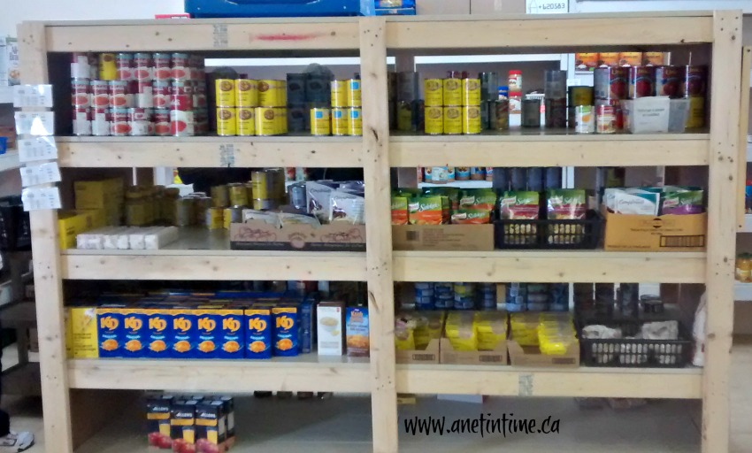 foodbank shelving with food