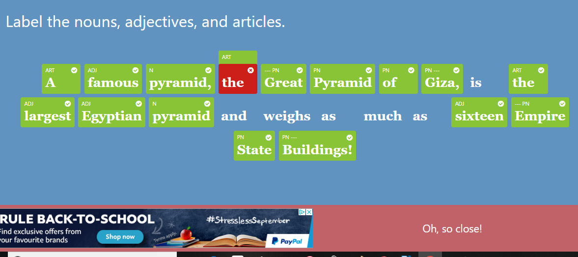 almost correct practice question in GrammarPlanet