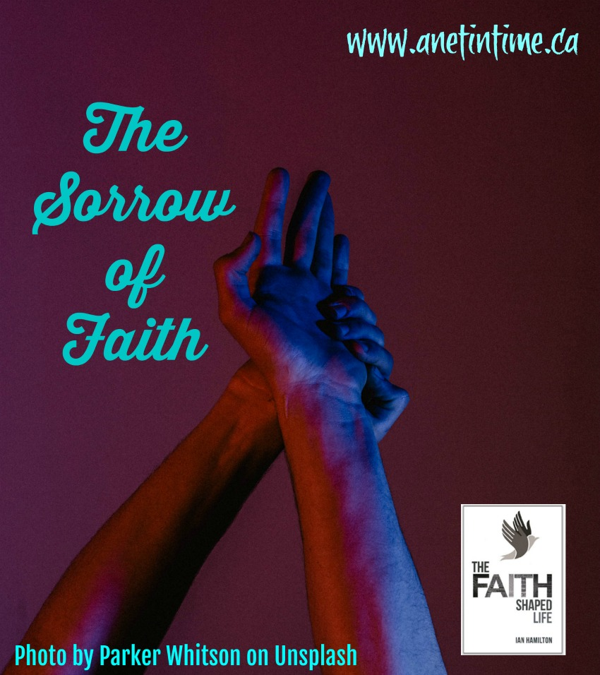 hands raised, text the sorrow of faith