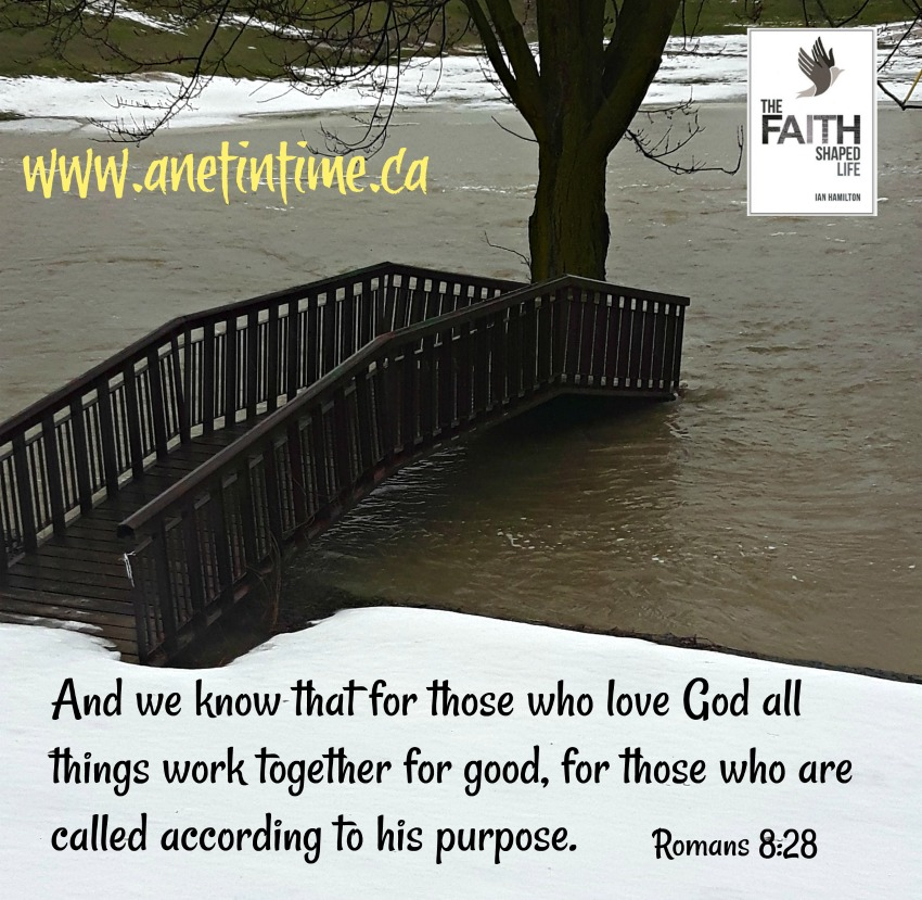 And we know that for those who love God all things work together for good, for those who are called according to his purpose. On a water flood background