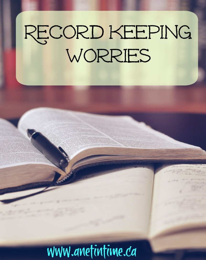 Record keeping worries, text over open books