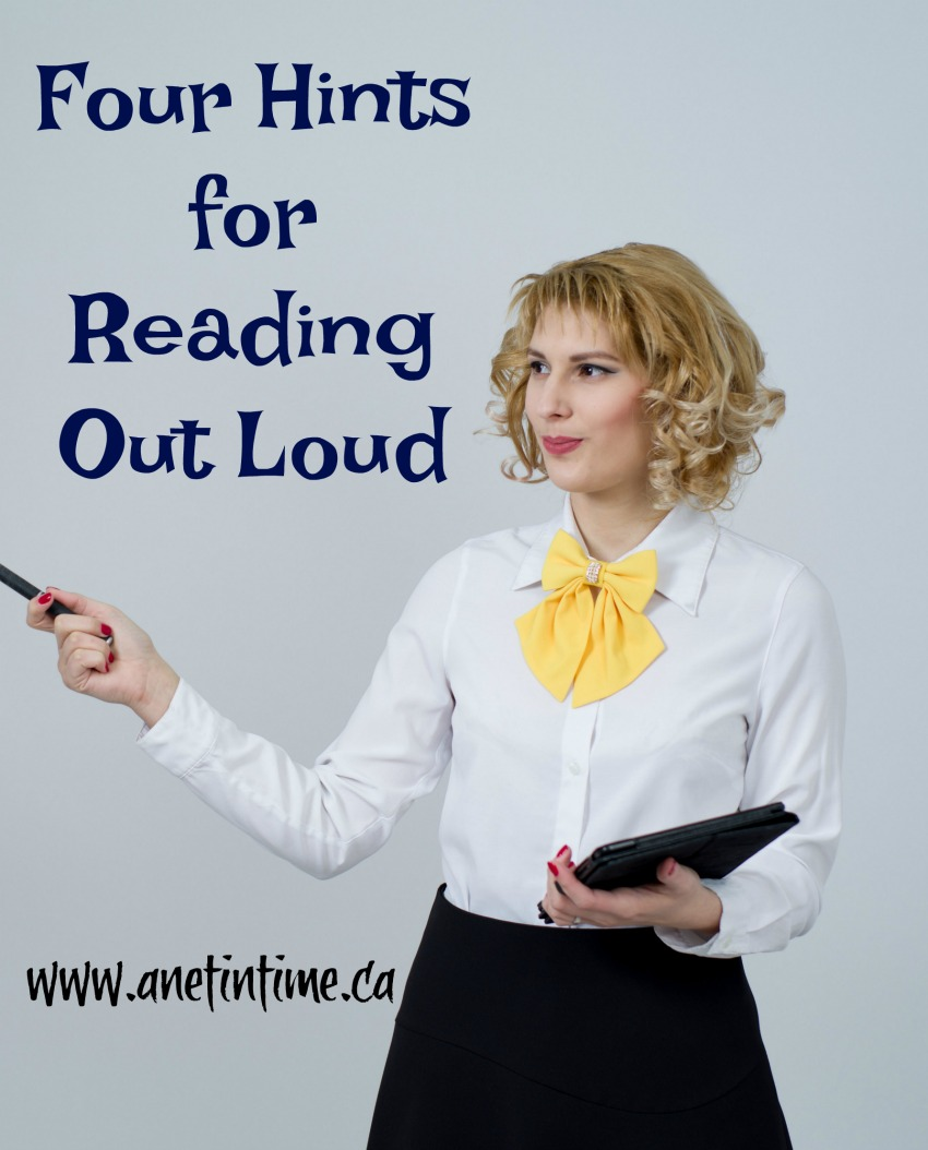 person reading, text four hints for reading out loud