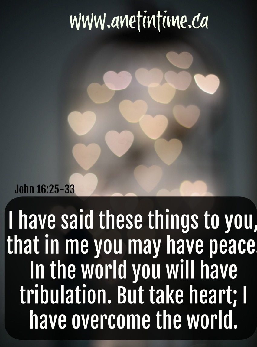 John 16:25-33 Take heart, I have overcome the world