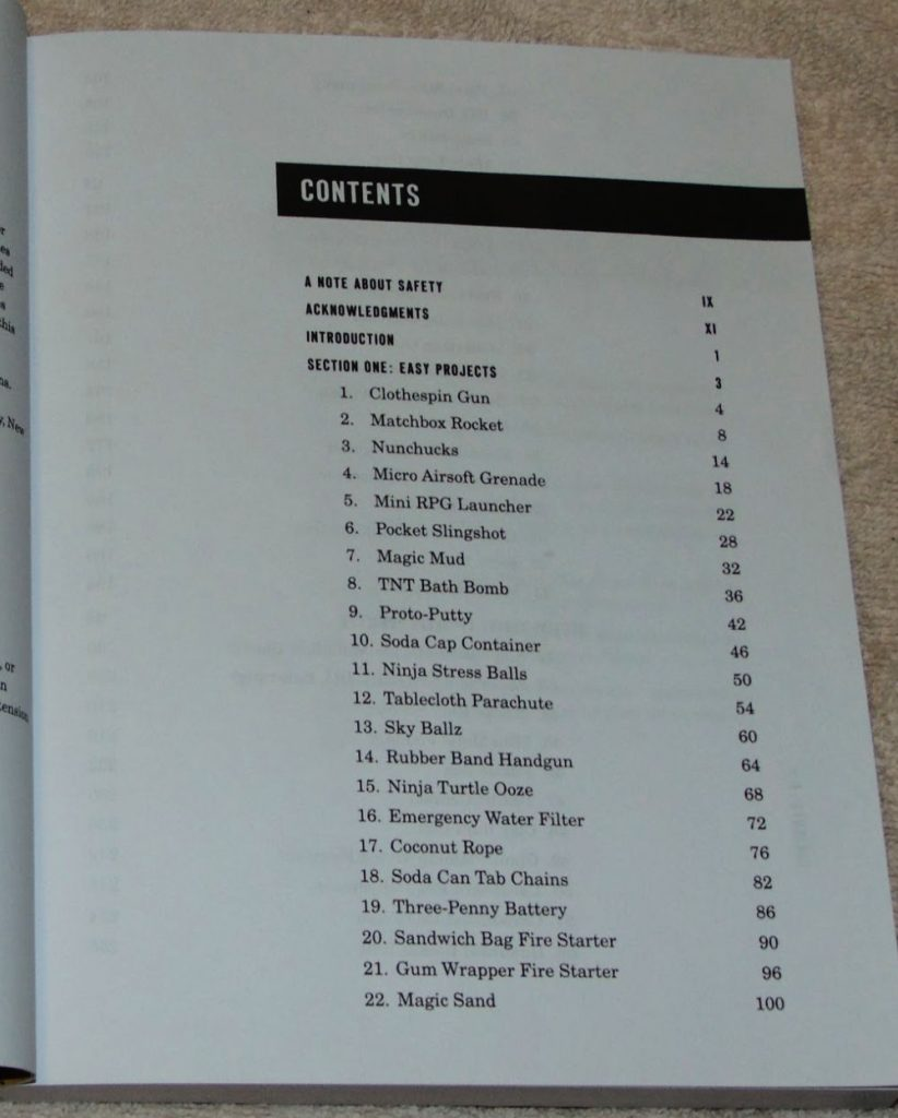 Table of contents for 52 Random weekend projects