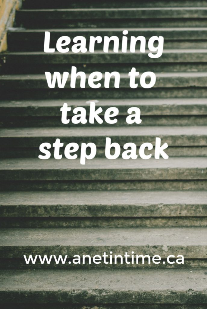Learning when to take a step back, text on stairs