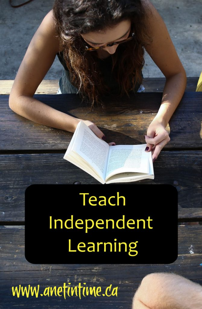 teach independent learning text with image of student doing independent work