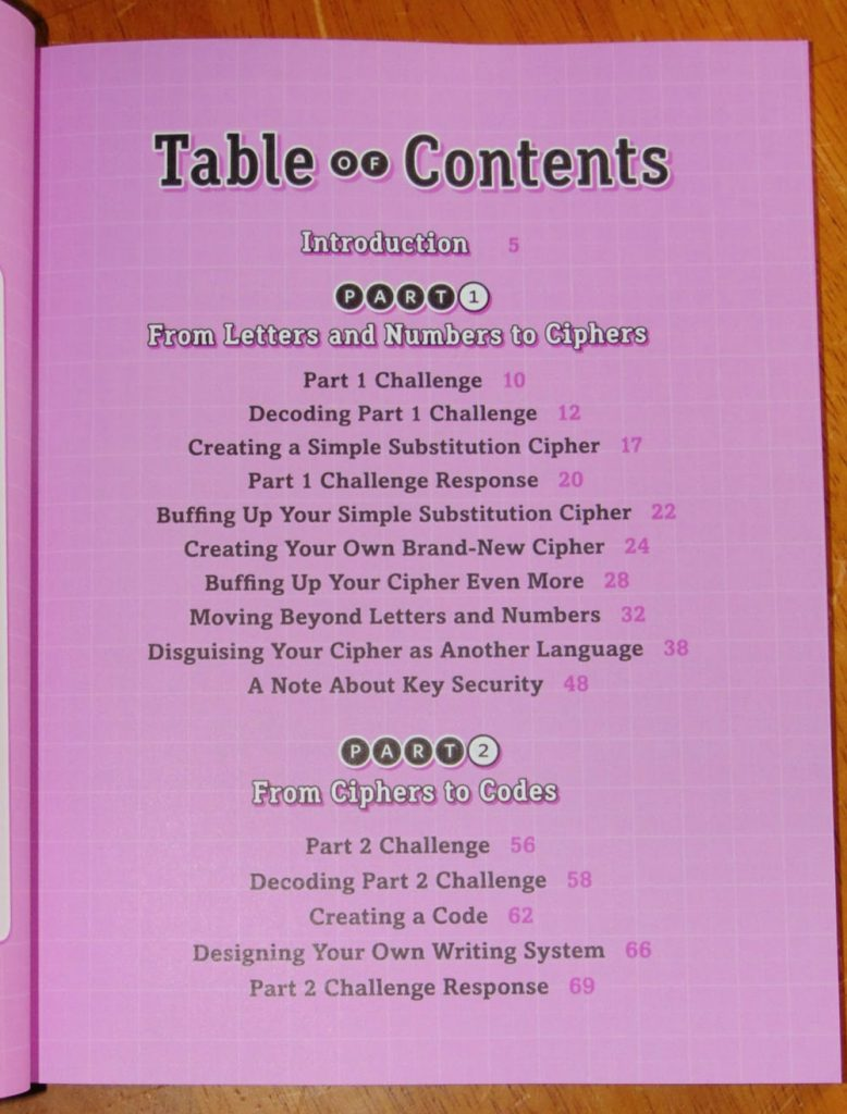 table of contents for create your own secret language