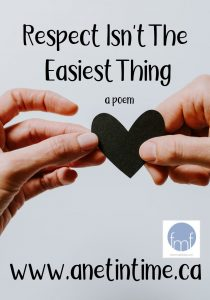 respect isn't the easiest thing, text. Two hands holding a heart image.