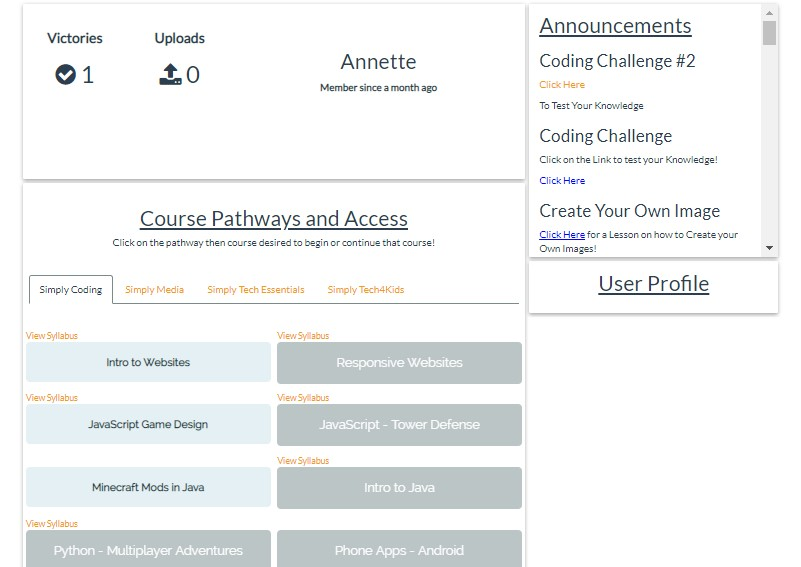 simply coding student overview