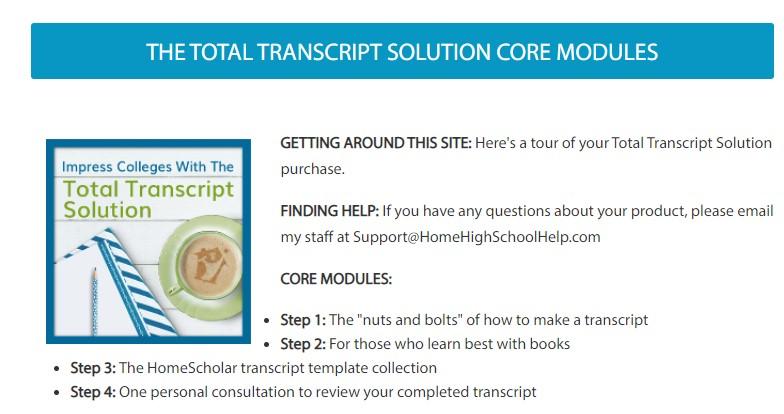 Total transcript solution modules
